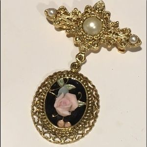 Vintage Drop Dangle Chatelaine Brooch Pin